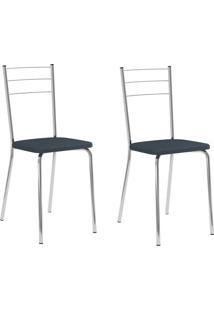 Kit 2 Cadeiras 1703 Jeans/Cromado - Carraro Móveis