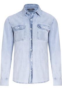 Camisa Masculina Top Tecido Plano Rep - Azul