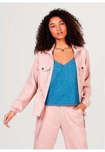 Jaqueta Feminina Em Tecido De Viscose Com Bolso Rosa