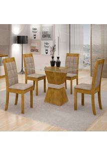 Conjunto De Mesa De Jantar Vitória Com 4 Cadeiras Rubi Veludo Ypê E Off White
