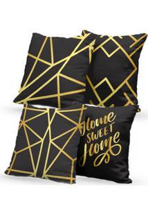 Kit 4 Capas De Almofadas Decorativas Own Home Sweet Home Gold 45X45 - Somente Capa