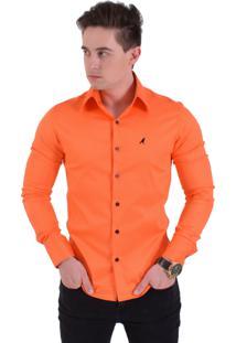 Camisa Social Masculina Laranja Super Slim 200103