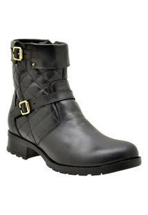 Bota Casual Atron Shoes Couro Feminina Matelassê Flexível Marrom 40 Preto