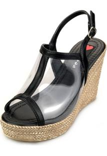 Sandália Anabela Love Shoes Alta Vinil Transparente Preto