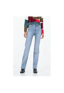 Calça Jeans Reta Com Aplicação De Material Sintético | Marfinno | Azul | 38