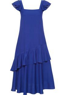 Vestido Midi Alça Babados - Azul