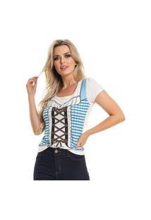 Camiseta Traje Fake Feminino Azul (30000/Azl) G Azul