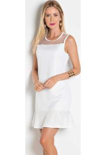 9a61ea6036 Posthaus. Vestido Branco Com Transparência No Decote