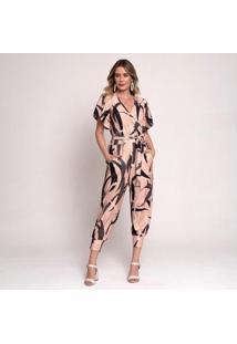 Macacão Bisô Joguer Estampado Feminino - Feminino-Nude