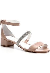Sandália Shoestock Bride Couro Tira Malha Strass - Feminino-Nude