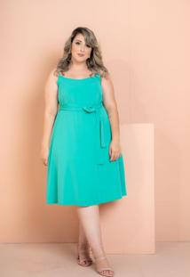 Vestido Curto Crepe Maresias Verde Plus Size