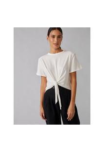 Amaro Feminino T-Shirt Muscle Nó Cintura, Off-White