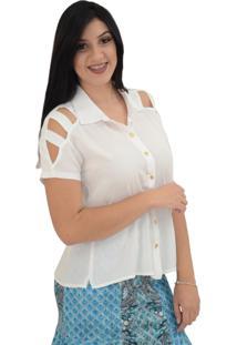 Camisa Energia Fashion Detalhe Manga Branco