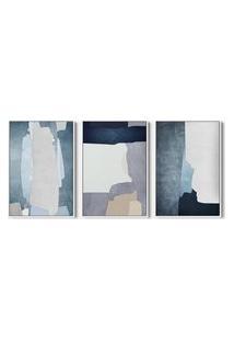 Quadro 40X90Cm Abstrato Hundura Moldura Flutuante Filete Branca Decorativo