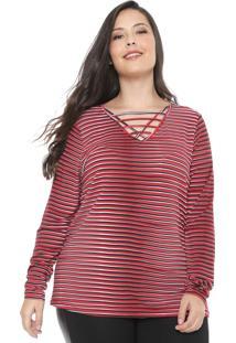 Blusa Cativa Plus Strappys Vermelha/Preta