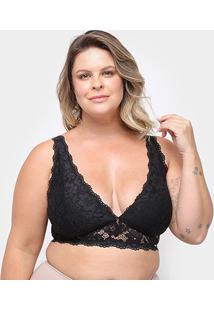 Sutiã Marcyn Top Renda Veneza Plus Size - Feminino-Preto