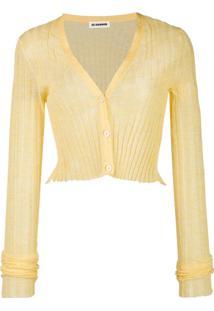 Jil Sander Cardigan Cropped Semi Translúcido - Amarelo
