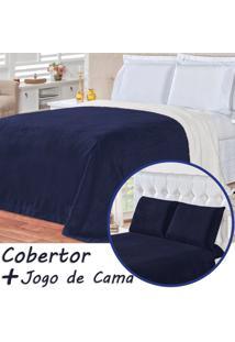 Kit Cobertor C/ Lençol Alaska Dupla Face Azul Marinho Queen - Sherpa E Manta Microfibra 04 Peças