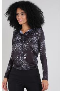 Camisa Feminina Estampada Floral Manga Longa Preta