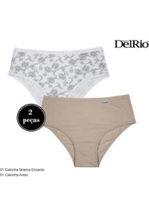 Kit 2 Calcinhas Delrio Básica Feminina - Feminino-Branco+Marrom