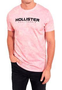 Camiseta Hollister Gráfica Masculina - Masculino-Rosa
