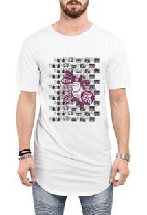Camiseta Criativa Urbana Long Line Oversized Engraçadas Bull Dog Urbano - Masculino-Branco