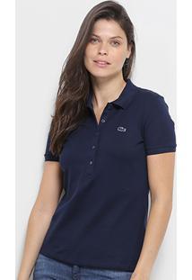 ... Camisa Polo Lacoste Piquet Manga Curta Feminina - Feminino-Marinho e5683423cc6e6