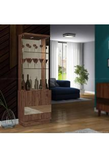 Cristaleira Com Espelho 2 Portas New Vina Com Led 100% Mdf Rústico Malbec - Dj Móveis