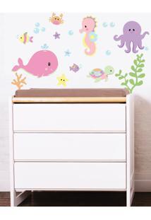 Adesivo Decorativo Stixx Kit Fundo Do Mar Menina Rosa