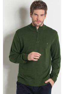 Suéter Com Gola E Abertura Em Zíper Verde