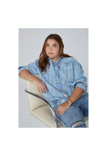Jaqueta Feminina Reta Em Jeans De Algodão E Elastano
