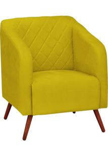 Poltrona Decorativa Silmara Suede Amarelo Pés Palito Condor Drossi