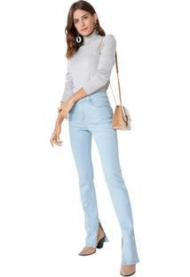 Calça Jeans Reta Fenda Interna