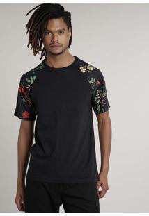 Camiseta Masculina Floral Raglan Manga Curta Gola Careca Preta