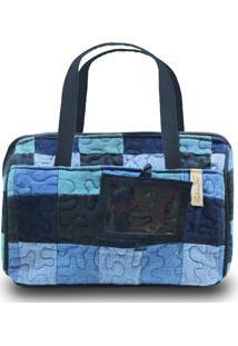 Necessaire Mary Zinnia Em Patchwork Original - Azul - Feminino - Dafiti