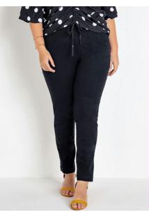 Calça Skinny Básica Plus Size Preta Cintura Alta