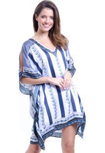 Vestido 101 Resort Wear Kaftan Curto Cetim Estampa Lenço Branco E Azul