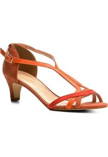 25178946b Zattini. Sandália Couro Shoestock Salto Cone Feminina - Feminino-Marrom