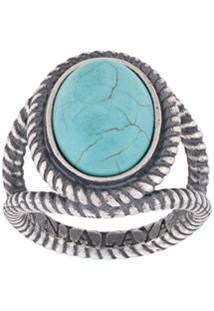 Nialaya Jewelry Anel Com Turquesa - Prateado