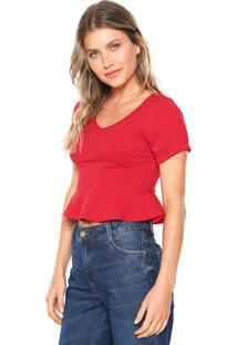 Blusa Cropped Fiveblu Peplum Vermelha