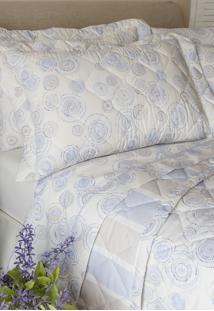 Colcha Com Porta Travesseiro Matelada 200 Fios Mandala/Summer Azul - Scavone