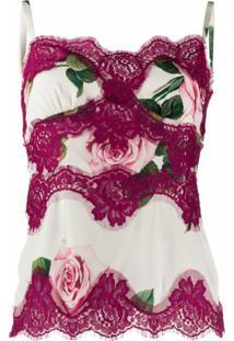 Dolce & Gabbana Blusa Com Renda E Estampa De Rosas - Neutro