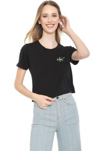 Blusa Cropped Calvin Klein Jeans Logo Preta