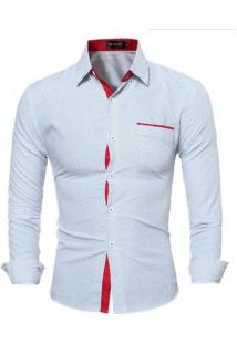 Camisa Masculina Slim Fit Estampa De Bolinhas Manga Longa - Branco