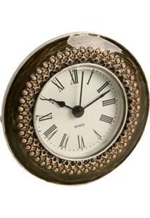 Relógio De Mesa Decorativo De Metal Com Strass V