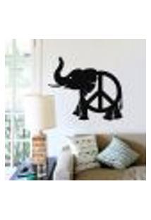 Adesivo De Parede Elefante Com Simbolo Da Paz - G 68X79Cm