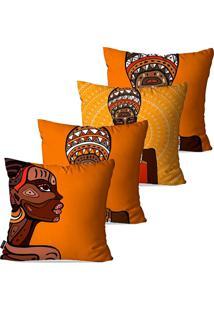 Kit Com 4 Capas Para Almofadas Pump Up Decorativas Laranja Africanas 45X45Cm