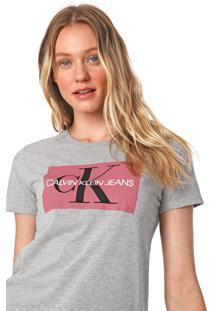 Blusa Calvin Klein Jeans Lettering Cinza - Kanui