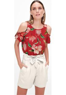 Blusa Estampada Recortes Malwee