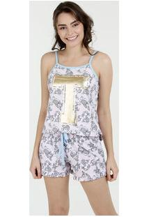 Pijama Short Doll Estampado Metalizado Marisa